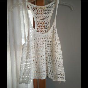 Crochet white tank